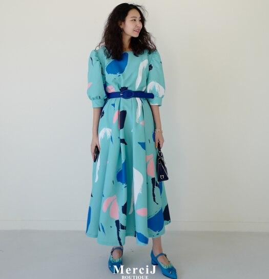 Superaen Mode Vrouwen Lange Jurk Zomer Nieuwe 2020 Katoen Dames Jurk Half Mouw Afdrukken Ronde Kraag Vrouwen Kleding