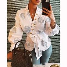 Women Blouse Shirt 2020 Female Clothing Lantern Sleeve Print