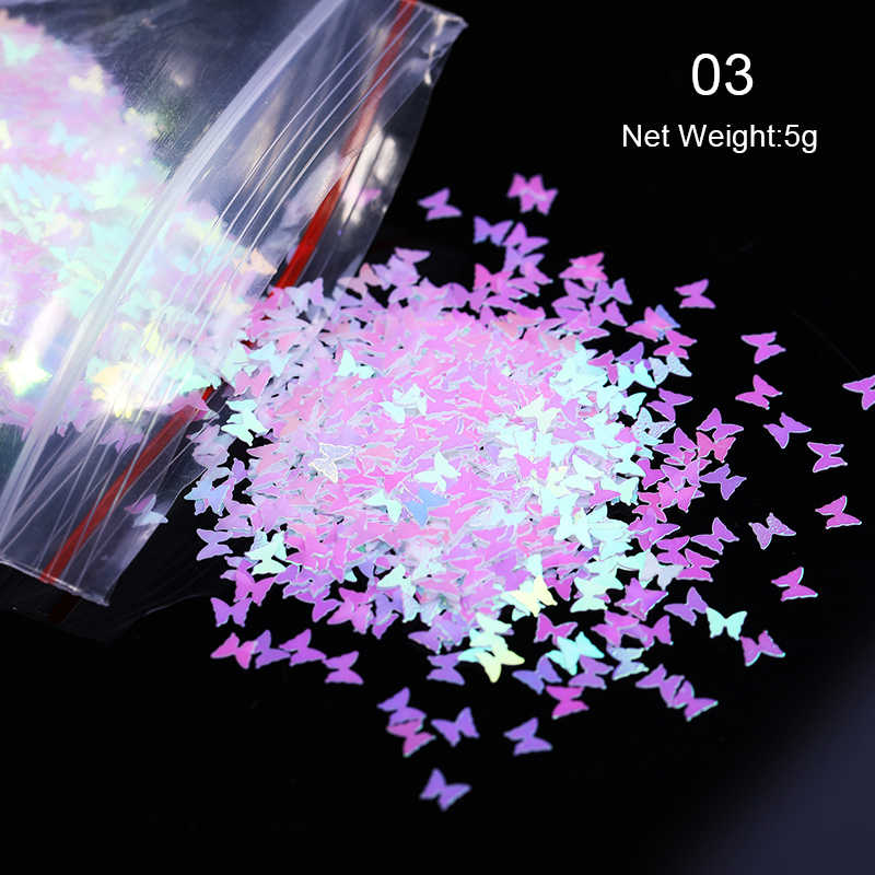 1 sacchetto Olografica Glitter Per Unghie Paillettes Luccicanti 3D SOTTILE Farfalla di Vetro della Stagnola Fiocchi Smalto Decor Per Unghie artistiche Accessori