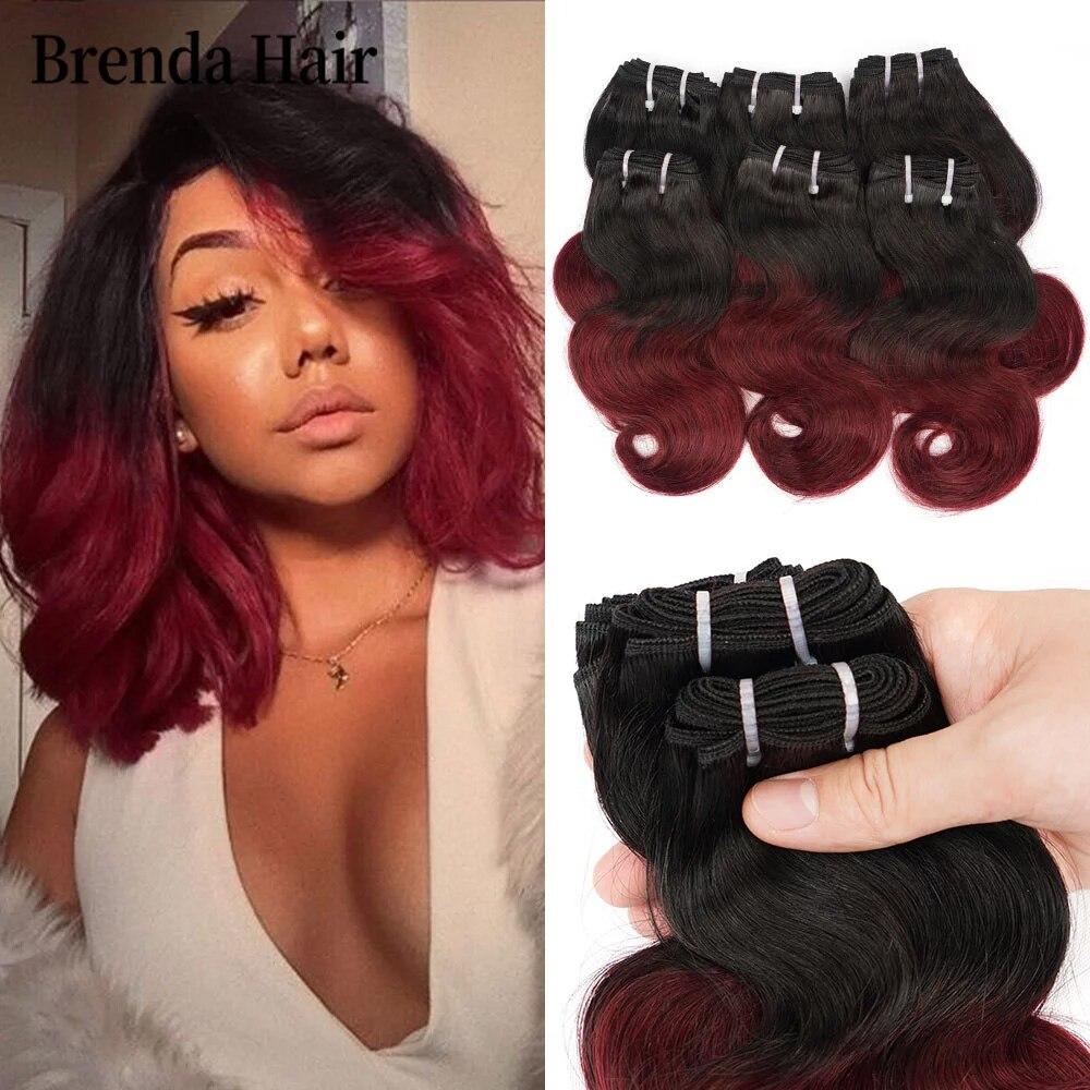 Brazilian Hair Body Wave Bundles 6pcs/Set 190g/Set 100% Human Hair Weave 1B 99J/1B/1B 27 Bundles Remy Hair Extensions