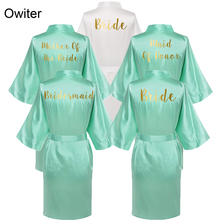 Owiter Satin Silk Robes Plus Size Wedding Bathrobe Bride Bridesmaid Mother Maid of Honor Gown Women Clothing Sleepwear Mint
