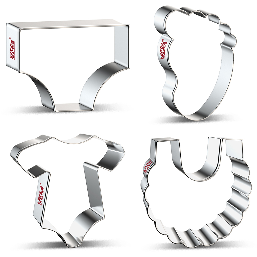 ZADE Baby Shower Cookie Cutter Baby Onesie,Baby Bib,Swaddled Baby,Foot And Diapers Cutter - Stainless Steel