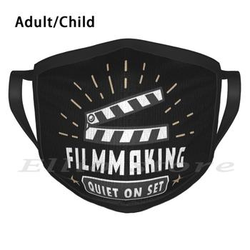 Movies Filmmaker Quiet On Set Print Washable Anti Dust Scarf Mask Filmmakers Action Camera Clapper Board Directing image