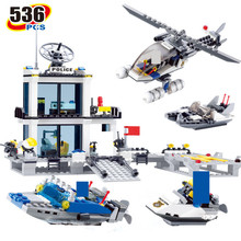 KAZI Education Police Station Building Blocks Helicopter Boats Model Bricks Toys Compatible-LEGO brinquedos Birthday Gift bela pogo compatible legoe 10424 890pcs station helicopter jail cell urban police city building blocks bricks toys for child