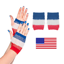 Independence Day Party Decorations Props Gloves Three-color Nylon Fishing Net Gloves Holida