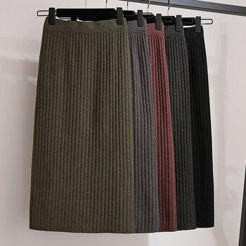 New women's knit skirt stretch tight skirt back split sexy skirt elegant pencil skirt female autumn winter high waist knit skirt фото