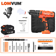 LOMVUM Electric Hammer Drill 21V Cordless Imapct Drill Electric Screwdriver Power Tools Carry Box 2 Speed 110v/22v for DIY