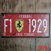 Metal estanho placa de carro enzo ferrari decoração pub casa vintage retro cartaz café arte 15x30cm