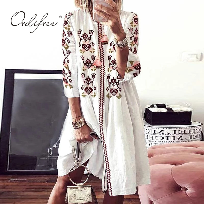 Ordifree 2020 Summer Boho Women Floral Dress Vintage Floral Print Loose Tunic Beach Dress