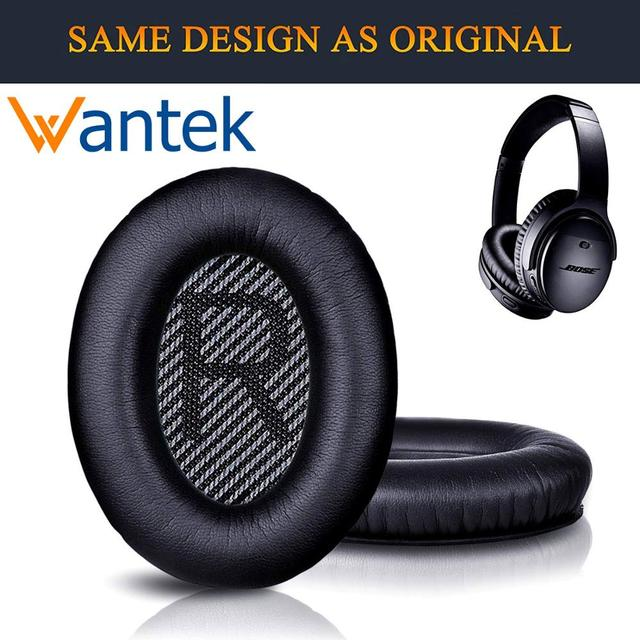 Wantek Ear Pads Replacement for Bose Headphones QC35 QC25 QC15 Ae2,Ae2i,Ae2w Quiet Comfort 25, Printing,Black with Bule(1Pair)