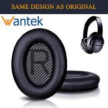 Wantek Ohr Pads Ersatz für Bose Kopfhörer QC35 QC25 QC15 Ae2, Ae2i, Ae2w Ruhigen Komfort 25, druck, Schwarz mit Bule (1 Paar)