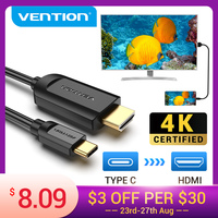 Vention USB C to HDMI Cable 4K Type c HDMI Thunderbolt 3 Adapter for MacBook Samsung Galaxy S10/S9 Huawei Xiaomi Type c to HDMI