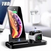 YBD 3 em 1 XS Max X Carregador de Carregamento Do Telefone Stand Holder Para o iphone Docking Station Para Vagens de Ar Maçã relógio Magnético de Carregamento|Carregadores de celular| |  -