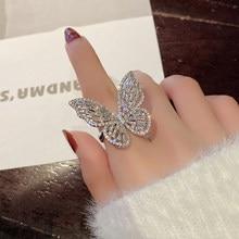 Nowy projekt biżuteria otwarcie wysokiej jakości miedzi inkrustowane cyrkon pierścień z motylem luksusowe błyszczące imprezowa, koktajlowa pierścień dla kobiet