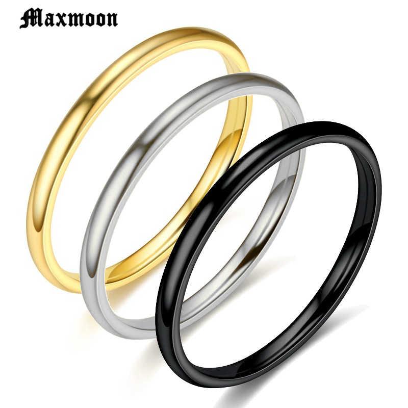 Maxmoon แหวนสแตนเลส Rose Gold สีดำ Anti-allergy เรียบเรียบส่วนบุคคลที่กำหนดเองคู่แต่งงานแหวน Bijouterie