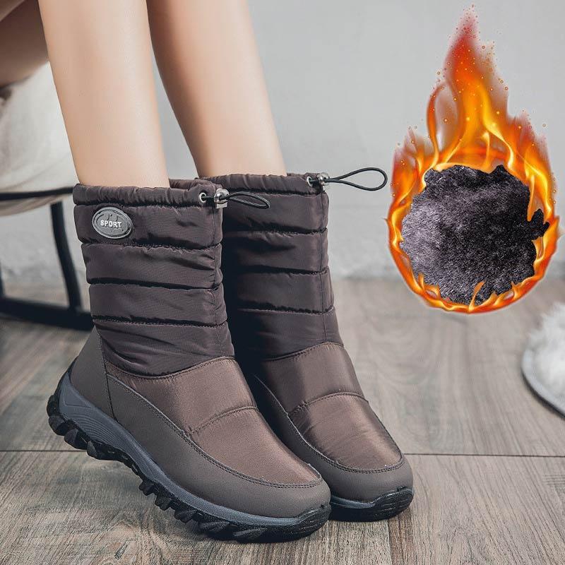 Женские теплые бархатные ботинки, зимние ботинки на платформе с круглым носком и резинкой, 2020 Зимние сапоги    АлиЭкспресс