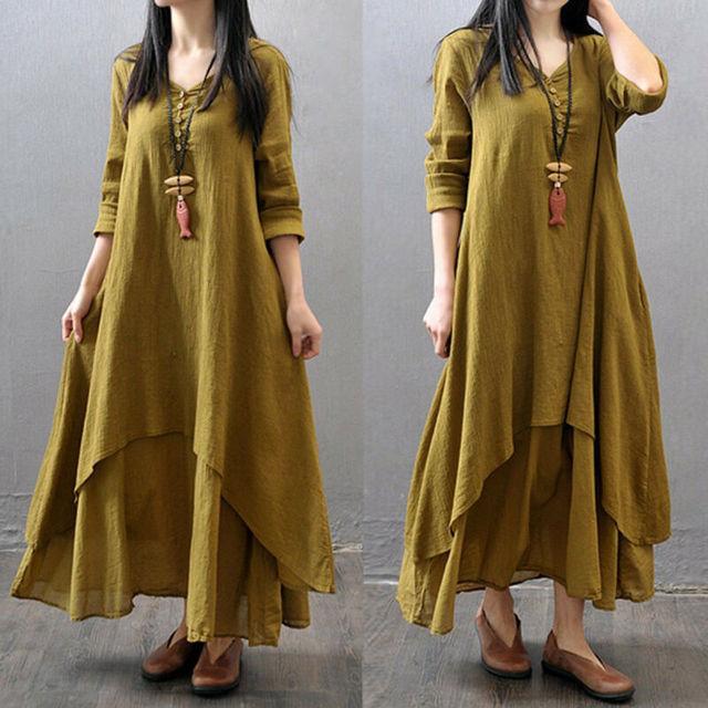 2019 Spring Boho Women V Nekc Peasant Ethnic Cotton Linen Maxi Dress Casual Long Sleeve Button Irregular Long Dress hot