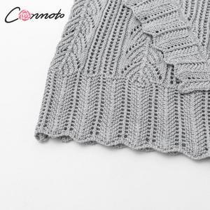 Image 5 - Conmoto 여성 가을 겨울 니트 스웨터 패션 홀드 아웃 크로 셰 뜨개질 풀오버 2019 여성 프릴 긴 소매 점퍼 탑스