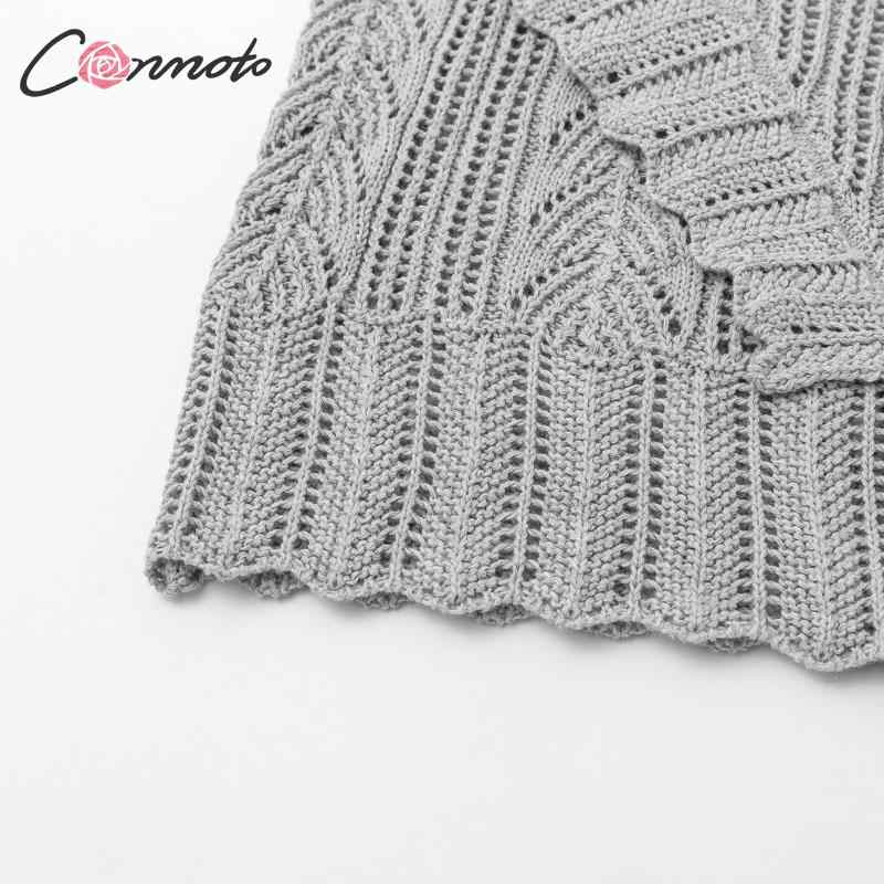 Conmoto 女性秋冬ニットセーターファッション中空アウトかぎ針プルオーバー 2019 女性のフリル長袖ジャンパー