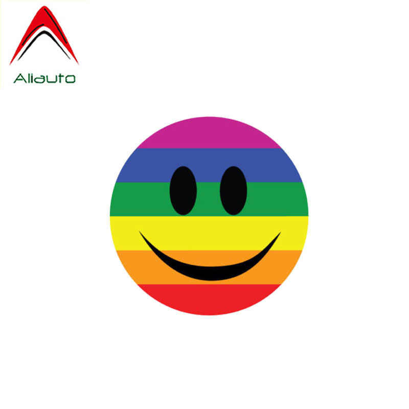 Aliauto شخصية سيارة ملصق مبتسم الوجه غطاء مثلي الجنس خدش المضادة للأشعة فوق البنفسجية السيارات والدراجات النارية اكسسوارات بولي كلوريد الفينيل مائي ، 10 سنتيمتر * 10 سنتيمتر
