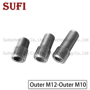 2pcs M12 M10 external teeth adapter screw fine teeth hollow tube iron threaded tube full tooth screw Outer M12 to Outer M10