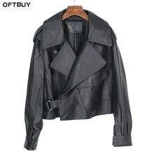 OFTBUY חדש אביב Loose אמיתי עור מעיל נשים 2020 אופנה שחור אמיתי כבש מעיל אופנוע אופנוען נשי הלבשה עליונה
