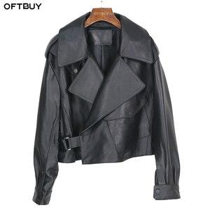 Image 1 - OFTBUY nouveau printemps en vrac en cuir véritable veste femmes 2020 mode noir réel en peau de mouton manteau moto motard vêtements de dessus pour femmes