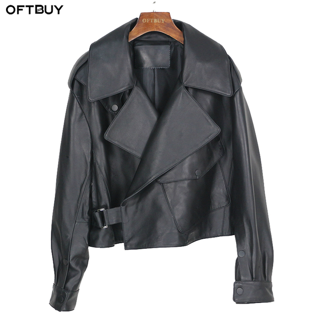 OFTBUY nouveau printemps en vrac en cuir véritable veste femmes 2020 mode noir réel en peau de mouton manteau moto motard vêtements de dessus pour femmes