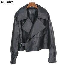 Oftshop nueva chaqueta de cuero genuino holgada primavera mujer 2020 moda negro Real piel de oveja abrigo motocicleta Biker Mujer prendas de vestir exteriores