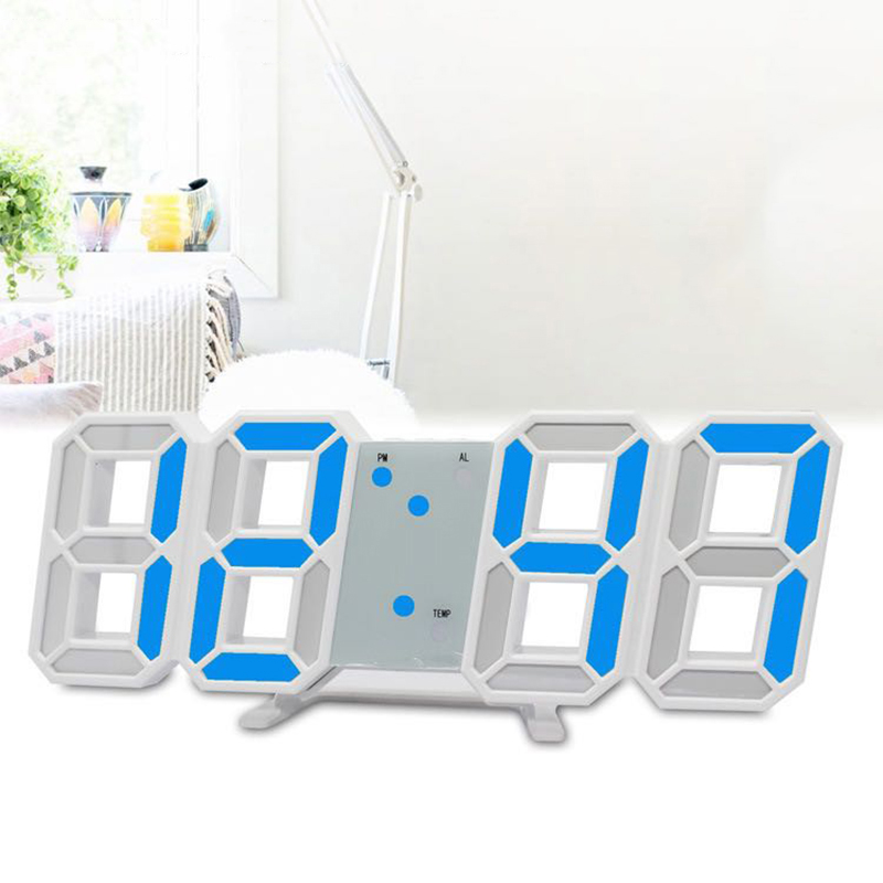 LED Clock Without Battery Large Digital Wall Desk Snooze Alarm Modern 3D 12/24 Hour Display Multi-function