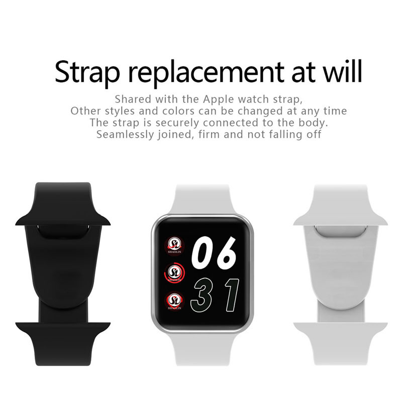 Bluetooth Smart Watch Series 4 SmartWatch Case for Apple iOS iPhone Xiaomi Android Smart Phone vs Apple Watch (Red Button)