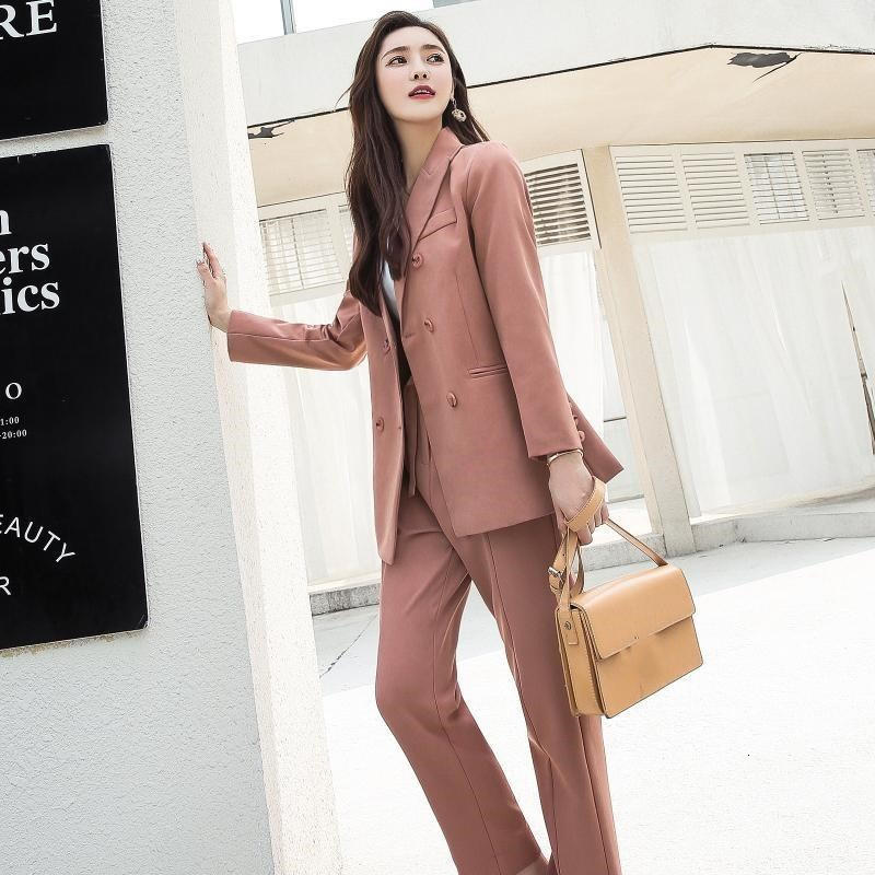 Fashion Pink Casual 2 Pieces Set Women Pant Suits Women Single Breasted Blazer Jacket And Pants Ol Female Suits