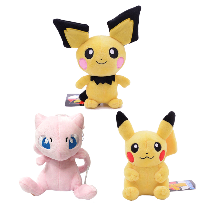 20cm Pikachu Mew Pichu Pulsu Lovely Anime Peripheral Stuffed Doll Kawaii Gift For Children Hobby Collections Christmas Present