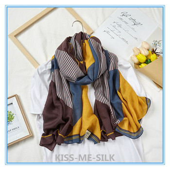 KMS New cotton and linen scarf retro tiger silk long shawl for Women 90*180CM/100G