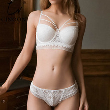 CINOON New Bandage Lingerie Push Up Bra Set Sexy Embroidery Lace Underwear Set Beauty Back Bra Panties Sets For Women Underwear