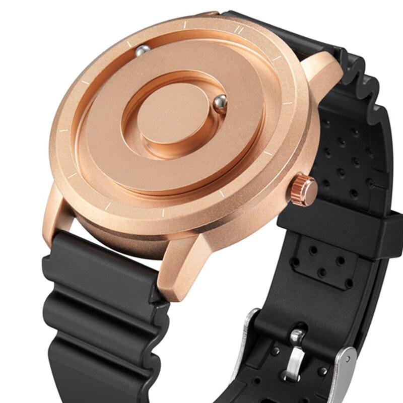 Creative magnétique montre or Rose noir argent métal aimant perles montre hommes cercle anneau caoutchouc sport montre mâle Relogio uhr