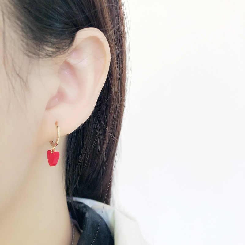 INZATT gerçek 925 ayar gümüş kırmızı kalp Hoop küpe moda kadın parti Minimalist güzel takı sevimli aksesuarları hediye