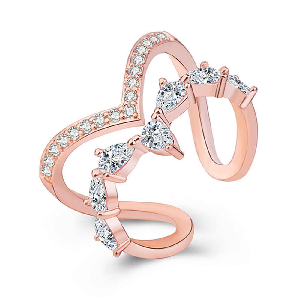 Doppel Schicht Unregelmäßige Geometrische Kristall Zirkon Ring 925 Sterling Silber Mode Party Schmuck Für Frauen S-R172