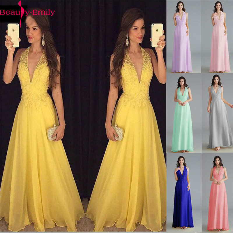 Beauty-Emily Chiffon Yellow Bridesmaid Dresses 2020 V-neck Heavy Beaded A-line Wedding Party Gown Formal Dress Robe De Soiree