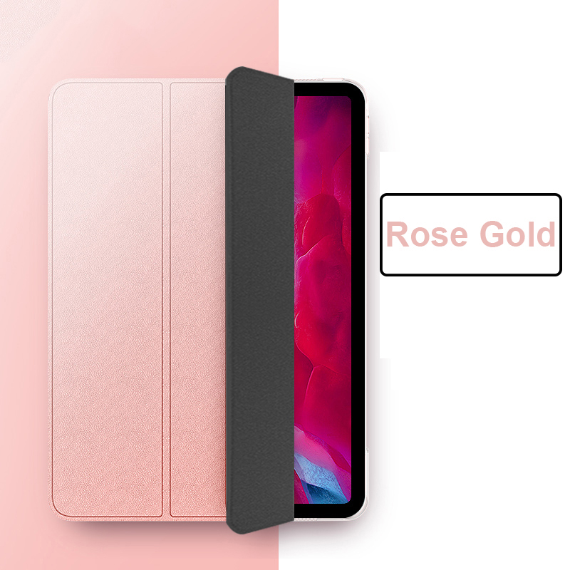 Rose Gold Red Funda iPad Pro 11 2021 case PU Leather Tri fold Case For iPad 11 Case Tablet