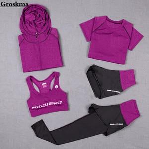 High waist pants+hooded coat+t shirt+bra+short women yoga 5 pieces set outdoor running quick dry fitness gym clothing sports 3XL(China)