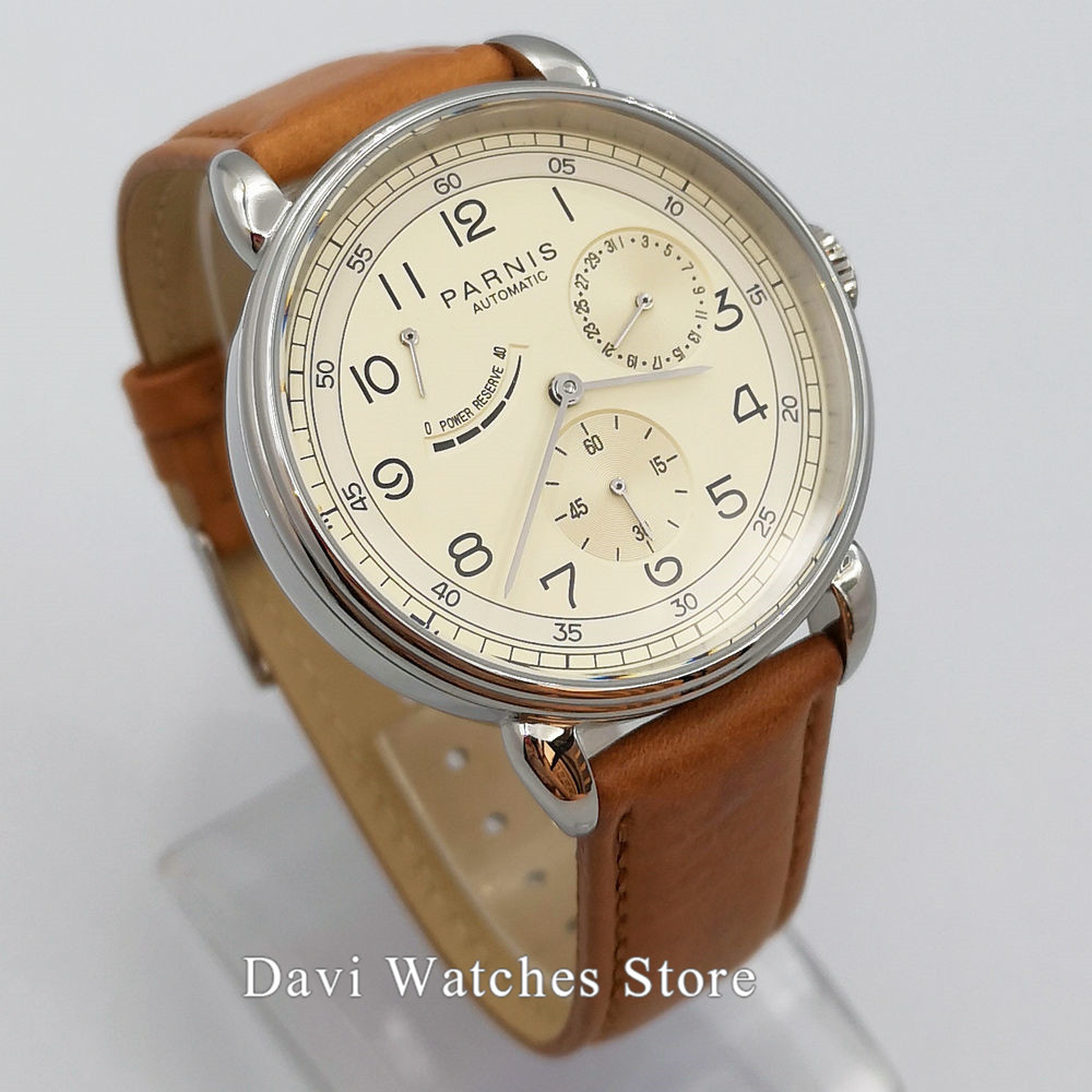 New Arrive Polished Vintage Mens Watch 42mm Parnis Beige Dial White Dila Blue Dial Sea-gull Automatic Movement Mens Watch