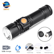 ZHIYU usb rechargeable portable flashlight USB Rechargeable Torch (Batteries Included) 5 Light Modes for Indoor and Outdoor Use