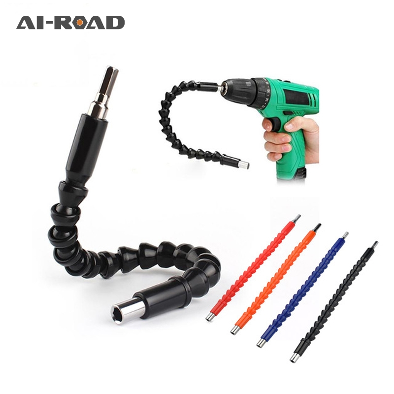 295mm Flexible Shaft Hex Flex Electric Drill Universal Shaft Extention Screwdriver Bit Holder Connect Rod Car Repair Tools Black