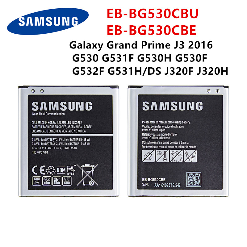 SAMSUNG Orginal  EB-BG530CBU EB-BG530CBE 2600mAh Battery For Samsung Galaxy Grand Prime J3 2016 G530 G531F G530H G530F G532F