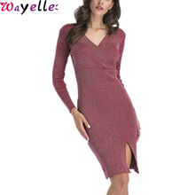 OL Knitted Sweater Dress Winter 2019 New Fashion Long Sleeve V-neck Sexy Bodycon Party Dress Women Casual Knee Lady Pencil Dress women lady sexy fashion round neck bodycon dress green blue