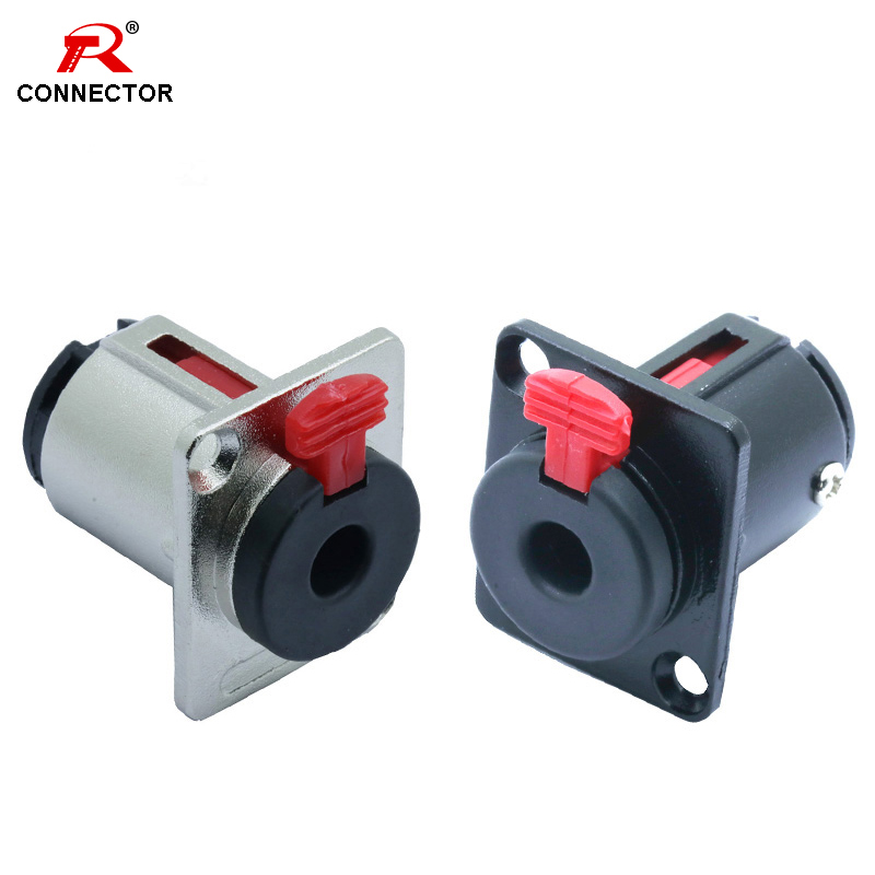 1pc Professional Speaker Audio Jack 6.35mm Connector 1/4 Inch Female Socket Panel Mounted Black&Silver Colors Banana Plugs RCA