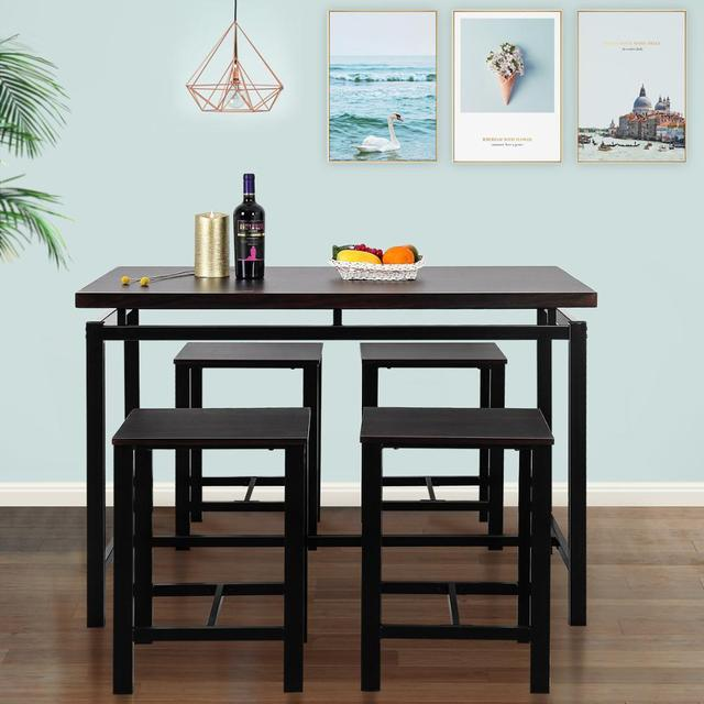 High Bar Dining Table and 4 Chairs Set  6