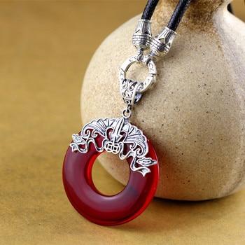 product fine silver 990 women's accessories wholesale Thai silver hand inlaid garnet pendants cross-border accessories