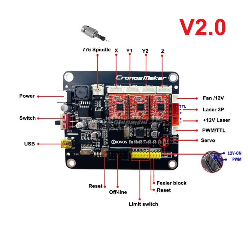 DIY GRBL 3 Axis Motherboard V2.0 With USB Line Support Cnc Spindle CNC Router Drawing Laser Engraving Machine Plotter Parts